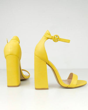 SELENE - block heel sandals in yellow