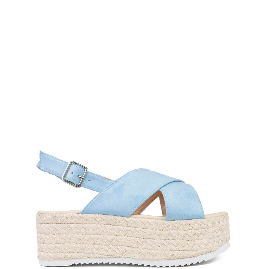 STEPHANIA - straw platform sandals in light blue