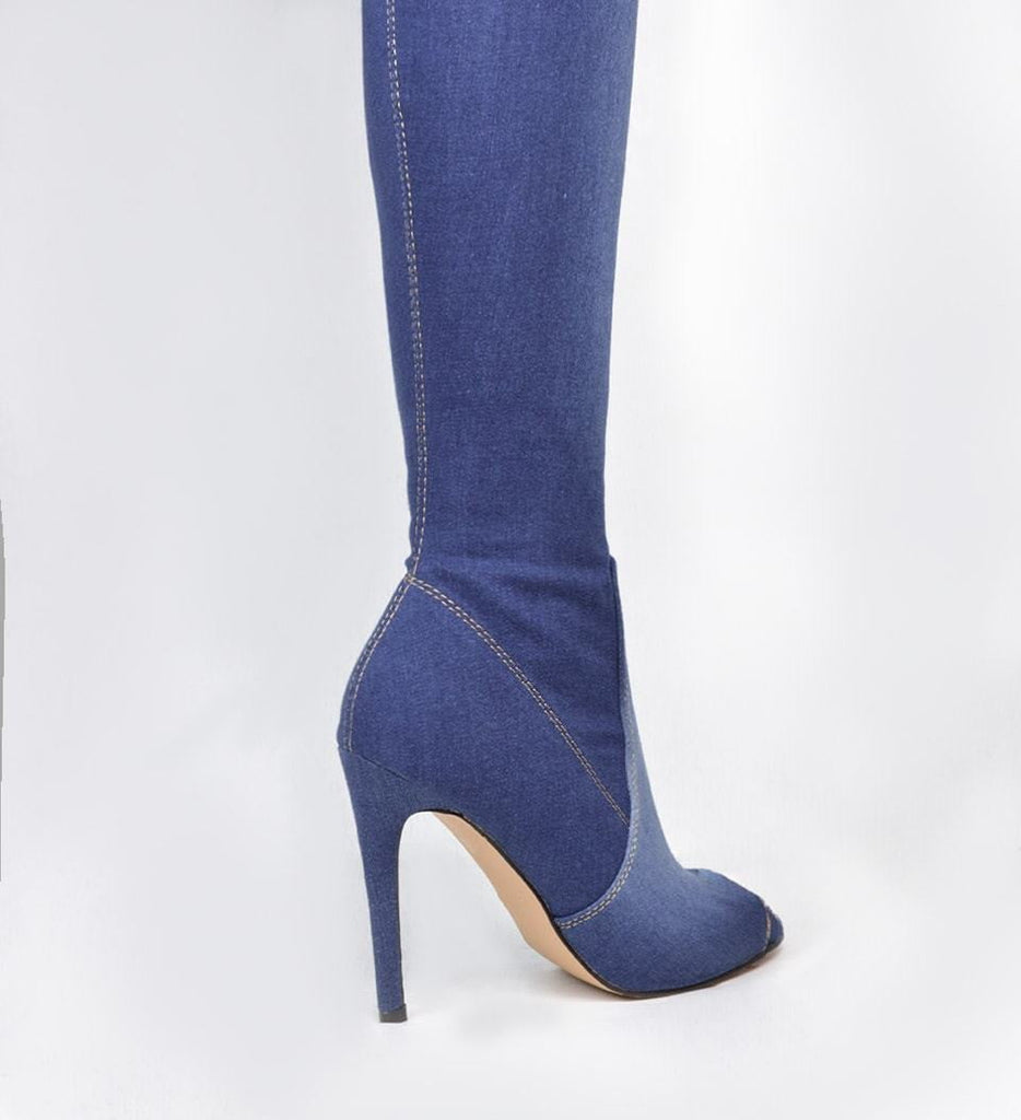 TELIAH - over knee boots in dark denim