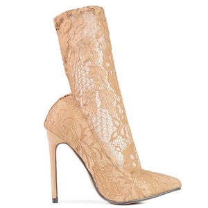 TESS - lace sock heels in nude