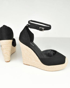 URIEL - wedge espadrilles in black suede