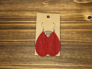 Red Leather Earrings
