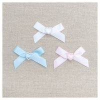 10mm SATIN RIBBON BABY BOWS with PEARL HEART CENTRE