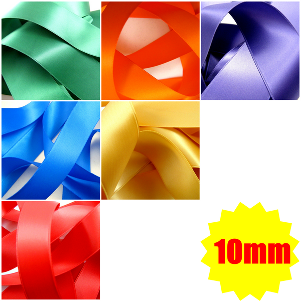 ** 10mm TOP QUALITY DOUBLE SIDED SATIN POLYESTER RIBBON WOVEN EDGE -27 COLOURS