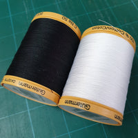 GUTERMANN COTTON THREAD - 800m - BLACK or WHITE - 100% COTTON THREAD