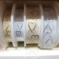 3m x SHEER ORGANZA HEARTS RIBBON for VALENTINES DAY 15mm or 25mm GOLD or SILVER