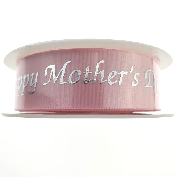 3 x METERS - PINK MOTHERS DAY RIBBON - SINGLE SIDED SATIN
