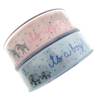 3 x METERS - IT'S A BOY / IT'S A GIRL RIBBON BY BERISFORDS - 25mm - PINK OR BLUE