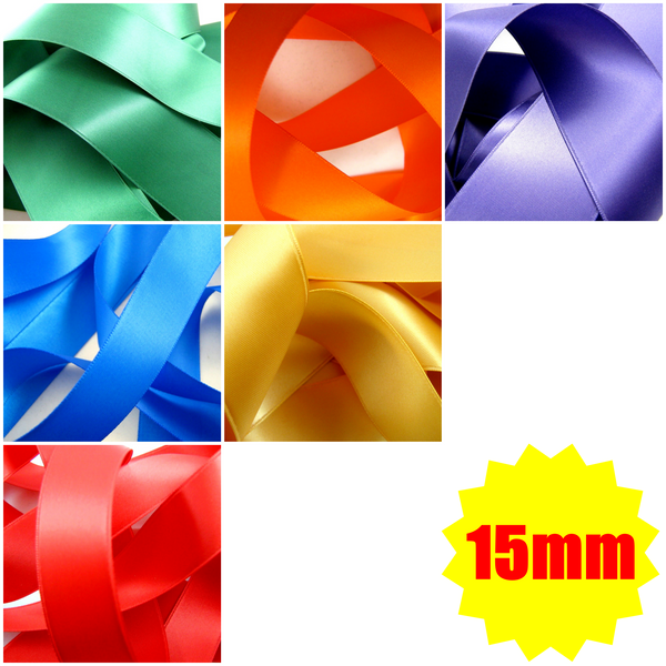 ** 15mm TOP QUALITY DOUBLE SIDED SATIN POLYESTER RIBBON WOVEN EDGE -27 COLOURS