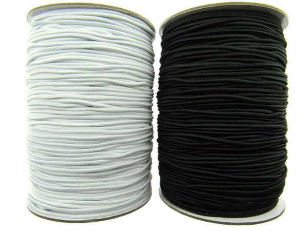 1.5mm BLACK or WHITE ROUND CORD ELASTIC - FULL ROLL (100m) - BEADING - MILLNERY