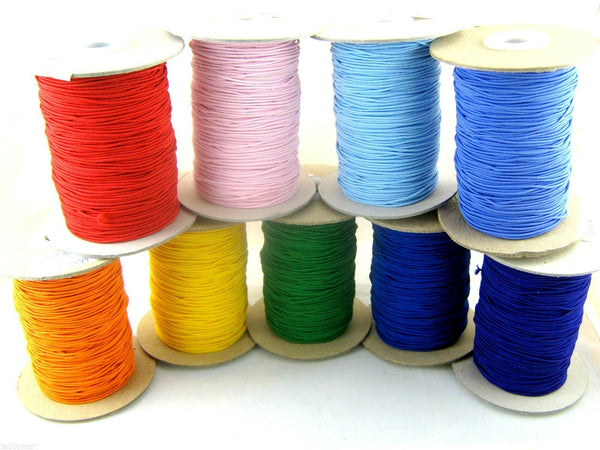 ** 100m / FULL ROLL of 1mm ROUND CORD ELASTIC ASSORTED COLOURS - ThreadandTrimmings