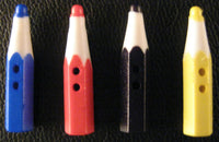 CRAYON PENCIL BUTTONS - CHOOSE FROM 4 COLOURS