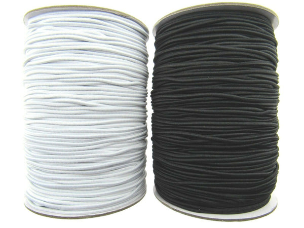 ROUND CORD ELASTIC / 1mm / 2mm / 3mm / BLACK or WHITE - BEST  QUALITY UK MADE - ThreadandTrimmings