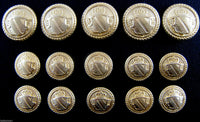 GOLD METAL MILITARY SHIELD BLAZER BUTTONS - Choose From 4 sizes B1978 - ThreadandTrimmings
