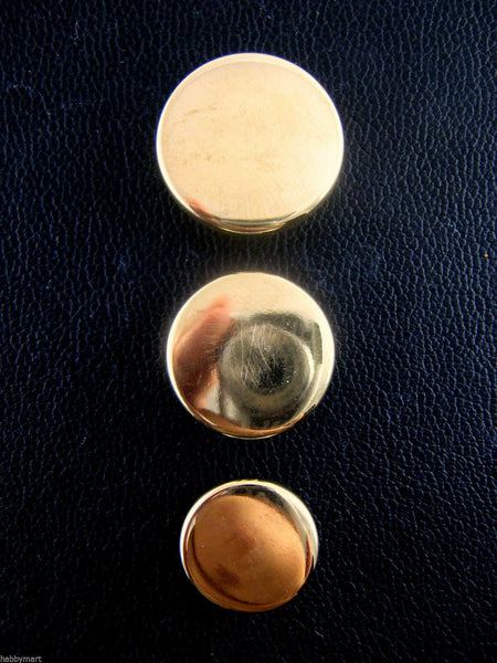 FLAT PLASTIC GOLD BLAZER BUTTONS - 3 Sizes 15mm, 18mm, 20mm - WITH SHANK (B1062)