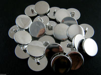 FLAT PLASTIC SILVER BLAZER BUTTONS-3 SIZES 15mm, 18mm, 20mm - WITH SHANK (B1062)