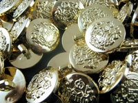 GOLD PLASTIC CRESTED BLAZER BUTTONS - 3 Sizes 15mm 18mm 21mm - WITH SHANK CX23 - ThreadandTrimmings