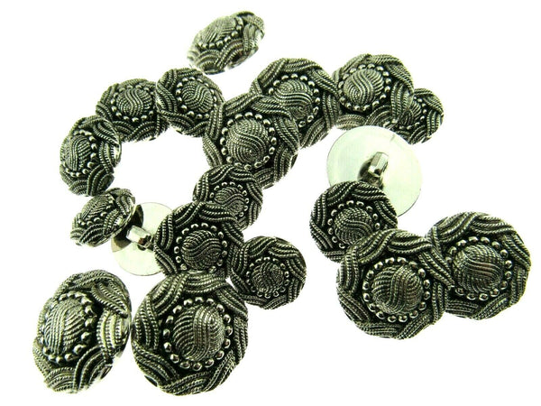 ANTIQUE SILVER TURKS HEAD PLASTIC BUTTONS 15mm, 19mm & 23mm - ThreadandTrimmings