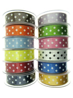 ** 3m x BERISFORDS CLASSIC POLKA DOT SATIN RIBBON - DOUBLE SIDED / WOVEN EDGE - ThreadandTrimmings