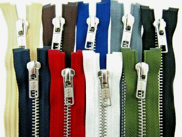 YKK METAL OPEN END ZIP FASTENER (No 5 WEIGHT) YKK SEPARATING ZIPPER / 9 COLOURS - ThreadandTrimmings