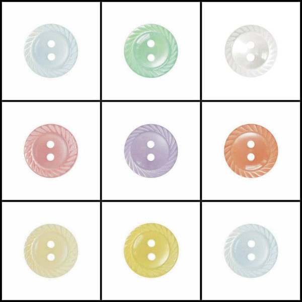 MILLED EDGE BUTTONS - 2 HOLE PLASTIC MILLED EDGE POLYESTER BUTTONS