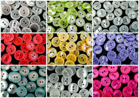 BEAD EDGE BUTTONS  - 3 SIZES 9 COLOURS - TWO HOLE POLYESTER 11.5mm - 15mm - 18mm - ThreadandTrimmings