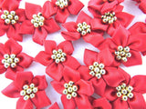CHRISTMAS POINSETTIA GOLD , SILVER / GREEN or RED BOWS GOLD/SILVER PEARL CLUSTER