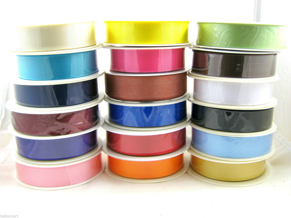 ** WHOLE ROLL GROSGRAIN RIBBON / RIBBED RIBBON/ 22 LOVELY COLOURS / 5 SIZES