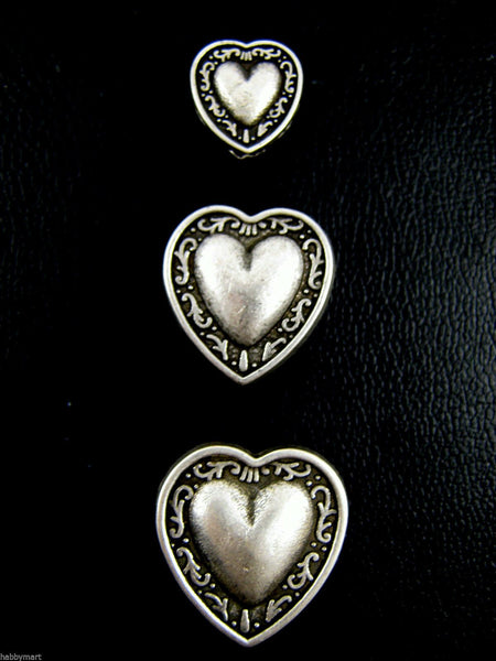ANTIQUE SILVER METAL HEART BUTTONS - AVAILABLE in 3 SIZES - 11.5mm, 18mm & 20mm - ThreadandTrimmings