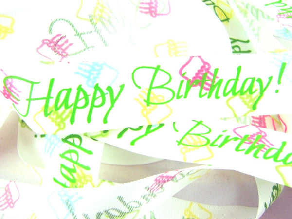 ** HAPPY BIRTHDAY RIBBON - GREEN ON WHITE - 25mm