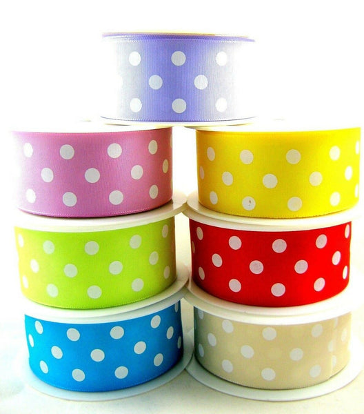 ** POLKADOT RIBBON with PLAIN SATIN SIDE - 38MM - 7 Great Colours - ThreadandTrimmings