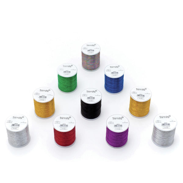 5 x 200 YARD REELS (182m) METALLIC EMBROIDERY THREAD -(5 x REELS of SAME COLOUR)