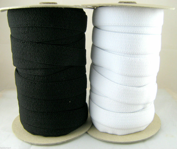 BLACK or WHITE PLUSH  BACK ELASTIC AVAILABLE in 16mm, 19mm or 25mm