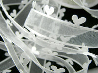 "** ""HEART EDGE"" CHIFFON ORGANZA RIBBON with SATIN HEART EDGE- 25mm Wide"