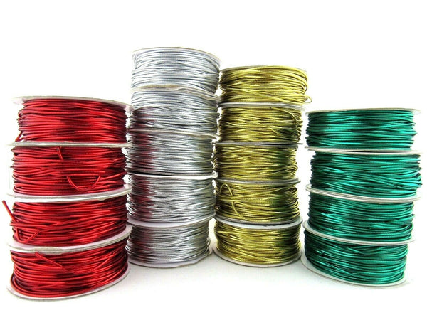 WHOLE ROLL BERISFORDS- 20m x 1.2mm ROUND LUREX METALLIC ELASTIC - GREAT FOR XMAS - ThreadandTrimmings
