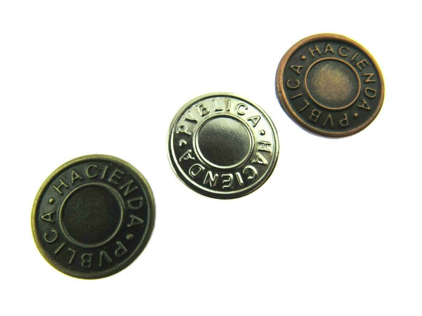 17mm JEAN BUTTONS - HACIENDA CAP WITH NAIL - 3 COLOURS GOLD, SILVER & ANTIQUE - ThreadandTrimmings