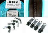 10m x 8mm CONTINUOUS NYLON ZIP CHAIN - 4 DOUBLE & 4 LONG PULL NON LOCK SLIDERS