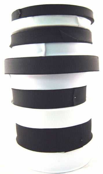 25 Meters (Whole Roll) of Black or White Flat Woven Elastic