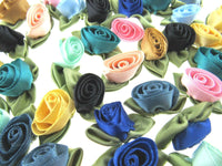 ** 50 SATIN  ROSE BUD BOWS with GREEN LEAVES - 30mm x 20mm