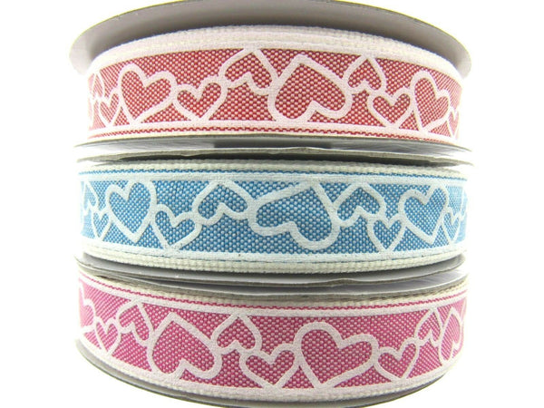 ** LOVE HEART RIBBON - 15Mmm - PINK, BLUE & RED
