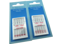 ** DOMESTIC SEWING MACHINE NEEDLES - LEATHER/JEANS/STANDARD WITH FLAT SHANK - ThreadandTrimmings