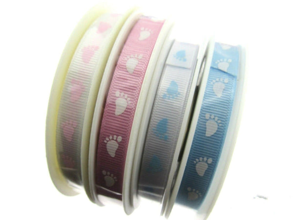 ** BABY FOOTSTEPS RIBBON in PALE PINK OR PALE BLUE ON 10MM GROSGRAIN RIBBON