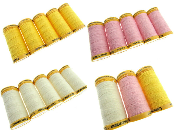** 5 x 200m GUTERMANN TACKING THREAD Col 919 /758 /2538 /NATURAL/ PINK/ YELLOW - ThreadandTrimmings