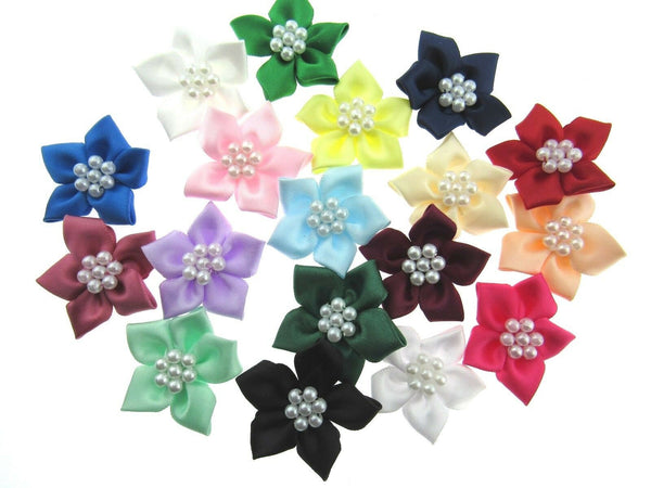 ** PEARL CLUSTER POINSETTIA SATIN RIBBON BOWS - CARD MAKING EMBELLISHMENTS