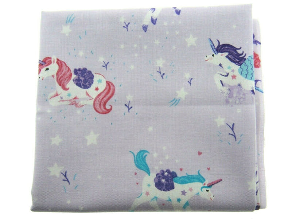 "** STUDIO E ""UNICORN KISSES"" - FAT QUARTER FABRIC- LILAC - PRANCING UNICORNS"