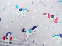 "** STUDIO E ""UNICORN KISSES"" - FAT QUARTER FABRIC- LILAC - PRANCING UNICORNS - ThreadandTrimmings"