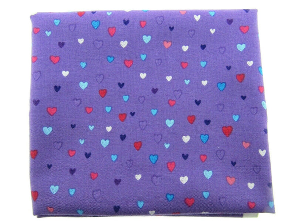 "** STUDIO E's ""UNICORN KISSES"" - FAT QUARTER FABRIC PURPLE LOVE HEART BLENDER"