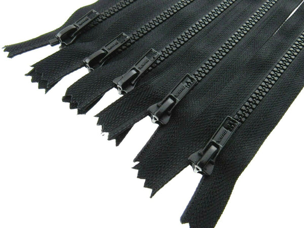 5 x BLACK  PLASTIC CLOSED END HANDBAG ZIPS