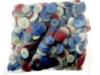 ** Mixed Red/White/Blue Buttons -  Red/White/Blue Craft Buttons - 1 Kilo Bag - ThreadandTrimmings
