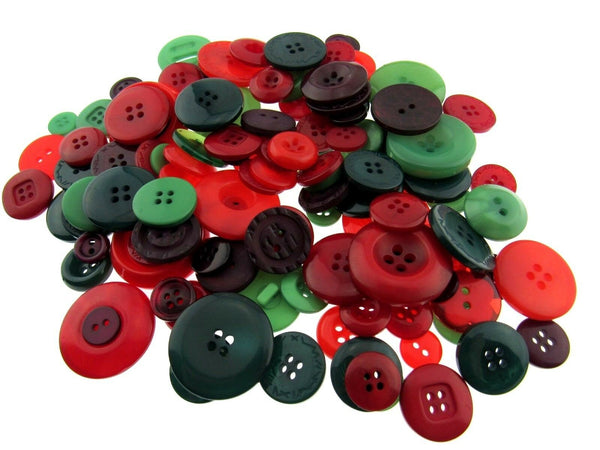 Mixed Christmas Buttons -  Red/Green Craft Buttons - 1 Kilo Bag - ThreadandTrimmings